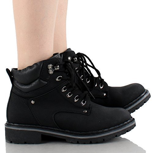 Forever Broadway-5 Women's Military Combat Lace Up Padded Cuff Martin Boot Slip-Resistant Hiking Outdoor Work Shoes Ankle Short Boot,Color:Black, - Walking Lightweight Boots