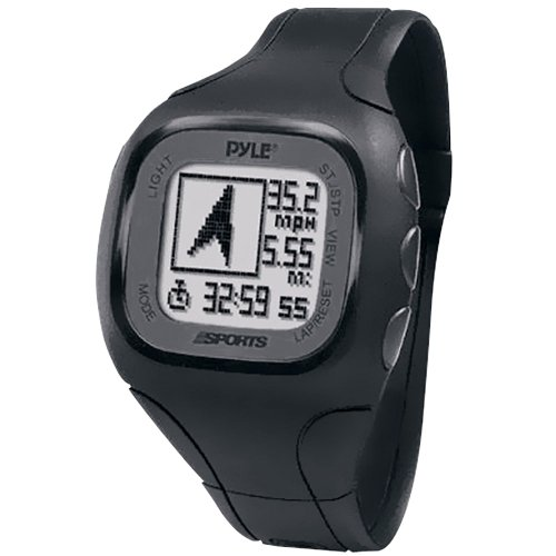 Pyle-Sports PSWGP405BK GPS Watch with Heart Rate Transmission, Navigation, Speed, Distance, Workout Memory, Compass, PC Link (Black) by Sound Around