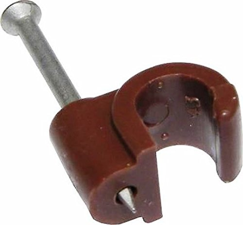 Bulk Hardware BH02713 Round RG59 & RG6 Coaxial Cable Clips, 6mm (0.25 inch) Brown, Pack of 100