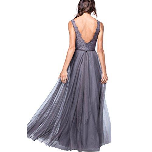 Tüll Schulter Spitze V für Burgund Lange Kleid Rueckenfrei Elegantes Damen Abendkleid IqxwCSA1t