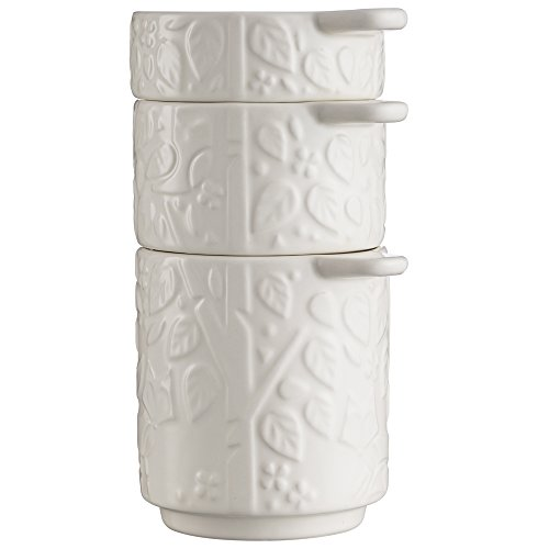 Mason Cash In the Forest Measuring Cups, Set of 3, Durable Stoneware, Stackable, Intricate Embossed Design, Microwave and Dishwasher Safe, Cream