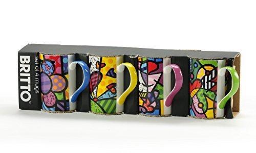 Romero Britto Gift Boxed New Bone China Mugs - Set of 4