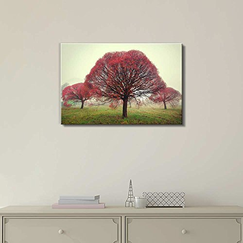Beautiful View Scenery of Three Trees with Red Leaves Standing in The Fog in an Autumn Morning Wall Decor