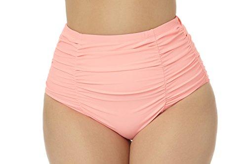2c37fcdb91 Allure Juniors Plus Size High Waist Shirred Hipster Swim Bottom