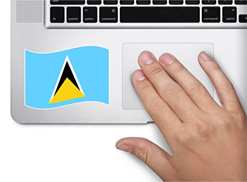 Lucia Four (Waving flag saint lucia 4x2.5 country symbol love humor america united states color sticker state decal vinyl - Made and Shipped in USA)