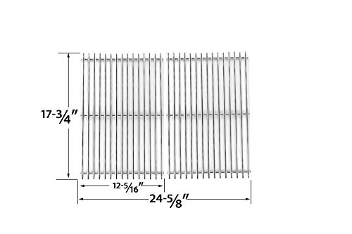Stainless Steel Cooking Grid Replacement for Master Forge 2518-3, DCS PC-2600, PC-26001, PC-2600L, PC-2600N, PCA-2600L, PCA-2600N Gas Grill Models, Set of 2 (Replacement Cooking Grids Dcs)