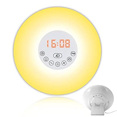 AKDSteel Sunrise Alarm Clock Wake Up Light Night Lights Simulation Bedside Lamp with 7 Colors, Dimmable Brightness, Nature Sounds, FM Radio, Snooze Mode, Touch Control and USB Charger