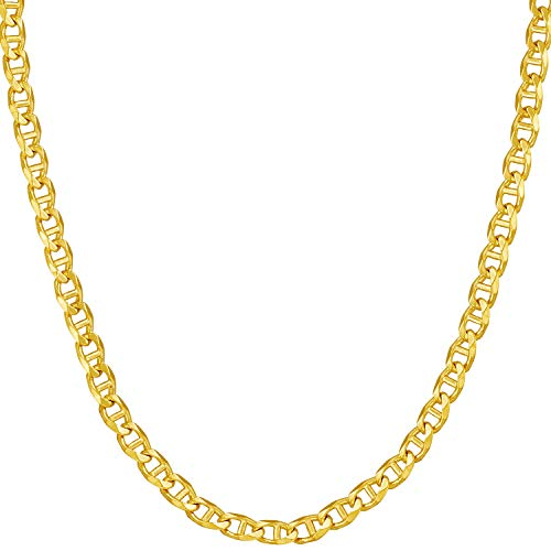 Lifetime Jewelry Gold Necklace for Women & Men [ 3mm Mariner Link Chain ] 20X More Real 24k Plating Than Other Statement Necklaces - Durable Gold Chain with Lifetime Replacement Guarantee (20.0) ()