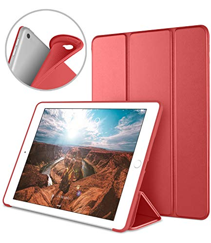 Apple iPad Air2 9.7 inch Smart Cover, DTTO Ultra Slim Lightweight Smart Case Trifold Cover Stand Flexible Soft TPU Back Cover iPad Apple iPad Air2,9.7-inch [Auto Sleep/Wake], Red