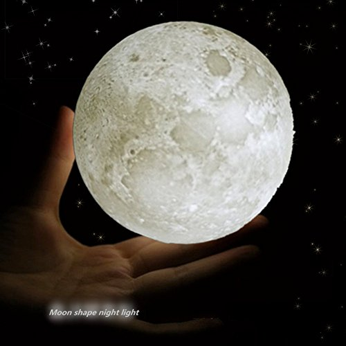 Moon Lamp Night Light 3D Printing Moon Light Touch Dimmable Warm and Cool Brightness Cordless illumination Desk Decorative Led Lamp Ball Realistic Lunar(3.94inch)