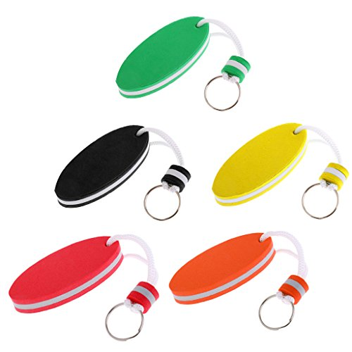 (MagiDeal 5pcs/set Mixed Color Oval Shaped EVA Foam Floating Key Ring Boat Keychain Water Sports Safety Buoyant Key Holder )