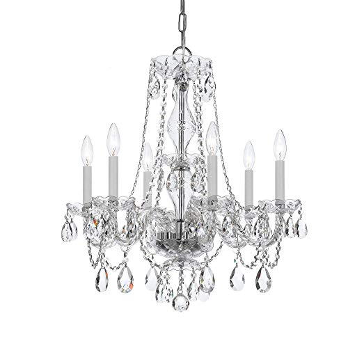 Crystorama 5086-CH-CL-MWP Six Light Chandelier, Polished Chrome Finish with Clear Hand Cut Crystal