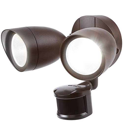 Cheap LEONLITE Dual-Head Motion-Activated LED Outdoor Security Light, Bronze 20W (120W Equiv.), 1400lm, UL & Energy Star Certified Exterior Flood Light, 5000K Daylight, 5 Years Warranty