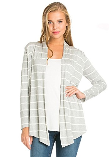Azules Women's Long Sleeved Open Front Draped Cardigan, XL, Grey and White Stripes