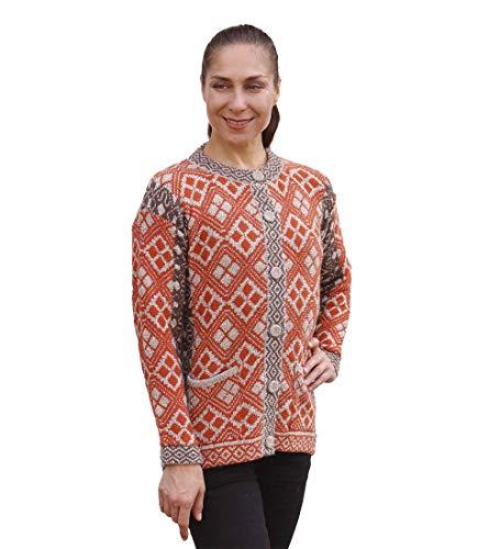 (Women's Soft Alpaca Wool Blend Knitted Cardigan Sweater Geometric Design Size M (Orange/Brown/Beige))