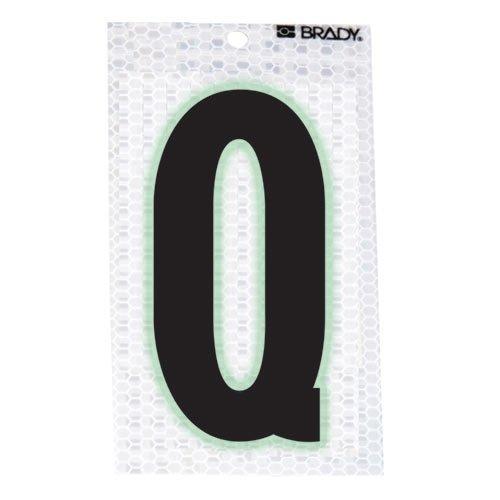 Brady 3020-Q, 105598 Glow-In-The-Dark/Ultra Reflective Letter - Q, 15 Packs of 10 pcs