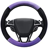 SEG Direct Purple Plush Winter Auto Car Steering Wheel Cover Universal 15 inch