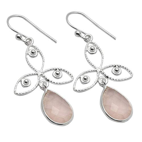 Silver Palace Sterling Silver Handmade And Natural Rose-Quartz Earring For Womens And - Quartz Silver Sterling Dangling Earrings