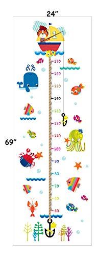 - Boodecal DIY Cat Go Fishing Underwater Fish Crab Whale Octopus Seaweed Coral Height Sticker Growth Height Chart Measuring Removable Kids Room Baby Room Nursery