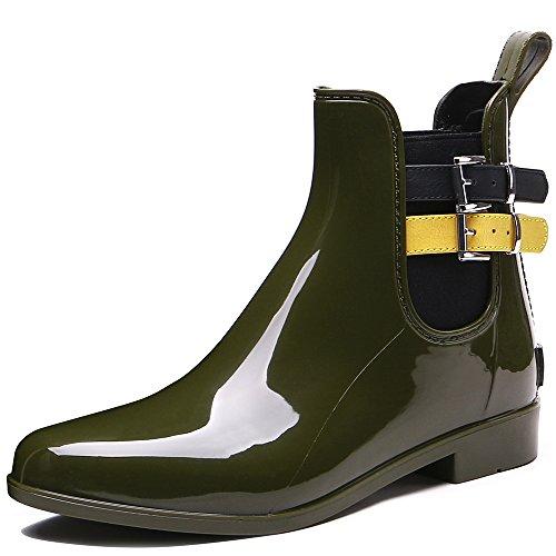 TONGPU Women's Fashion Patchwork Ankle Boots Garden Rain Footwear Khaki-yellow 7CT0A