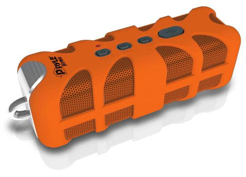 Upgraded Pyle Splash SoundBox Waterproof Bluetooth Speaker, Portable Wireless Outdoor, Enhanced Bass, USB, 3.5mm AUX, IPX4 Splashproof Speaker, Water Resistant, Beach, Shower - Orange (PWPBTA70OR)