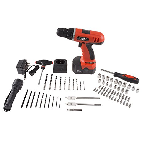 Cordless Drill Set-78 Piece Kit, 18-Volt Power Tool with Bits, Sockets, Drivers, Battery Charger, AC Adapter, Flashlight and Carrying Case by Stalwart by Stalwart (Image #1)
