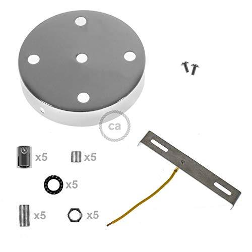 Kit Rosace /à 5 Trous chrom/é avec Serre-c/âbles cylindriques en m/étal chrom/é