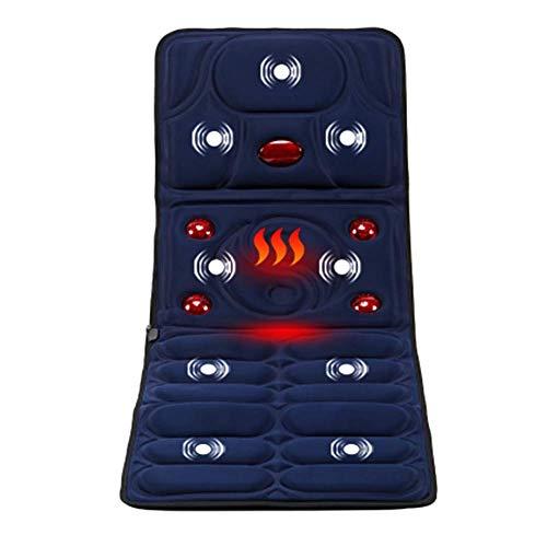 Massager Mat with Heat,5 Large Infrared Warm Lamps hot kneading Massage,8 Vibration Motors Massage Mattress Pad ()