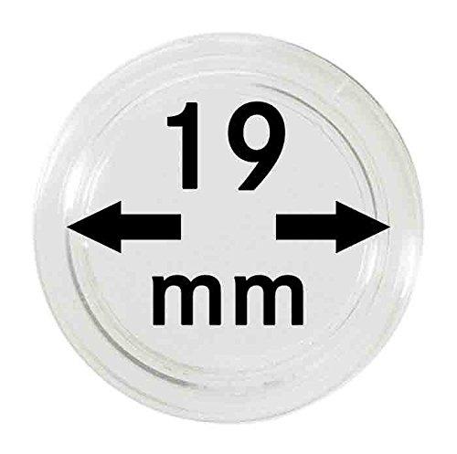 Capsulas para monedas 19 mm Di/ámetro interior: 19 mm 10 piezas Lindner 2250019 con superficie ex/tremedamente resistente contra ara/ñazos