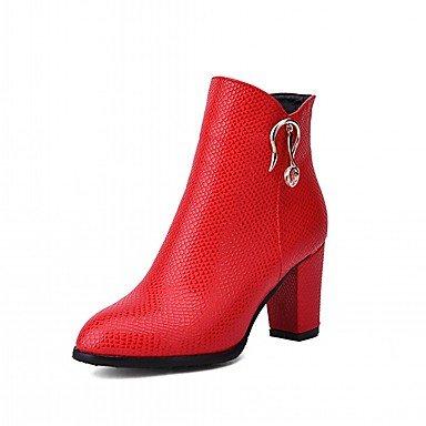 RTRY Zapatos De Mujer De Piel Sintética Pu Novedad Moda Otoño Invierno Confort Botas Botas Chunky Talón Puntera Redonda Botines/Botines De Cremallera Parte &Amp; US3.5 / EU33 / UK1.5 / CN32