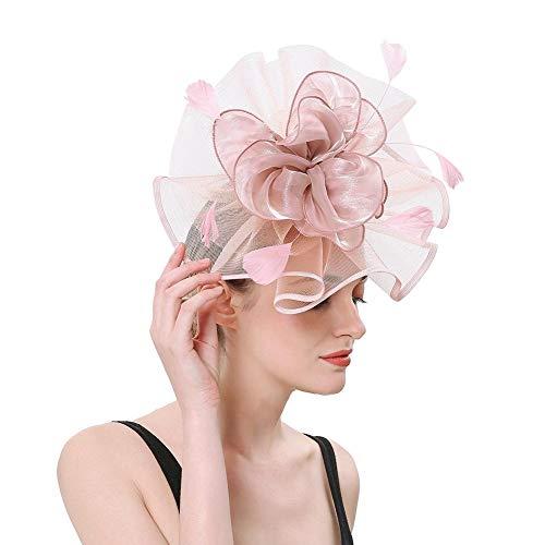 FADVES Women's Wedding Bridal Geadwear Tea Party Fascinators Hairband Feathers Flower Derby Hat Pink