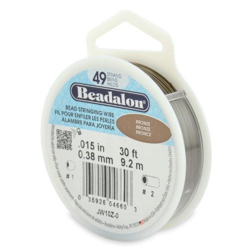 30 Foot Bronze - Beadalon 49-Strand Bead Stringing Wire, 0.015-Inch, Bronze, 30-Feet by Beadalon