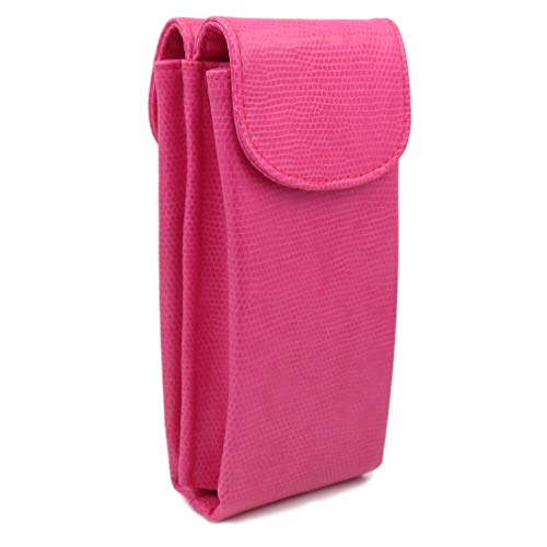 Dual Pocket Zebra - XL Double eyeglass case and soft sunglasses case -Semi Soft Pink extra large with 2 microfiber cloths(IP822 Pink)