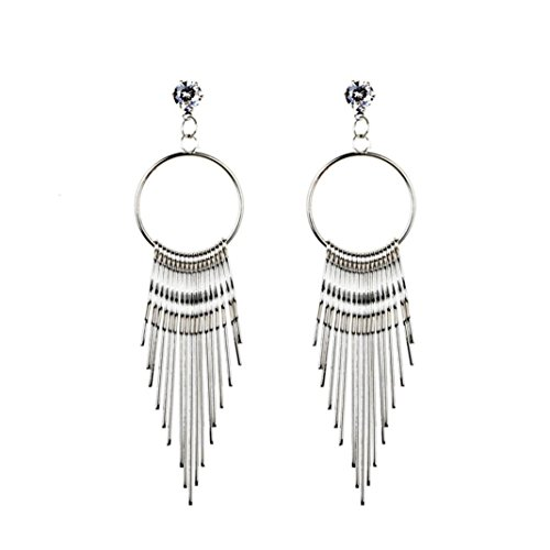 Cheap BSGSH Fashion Jewelry Bohemian Style Tassel Simple Liner Round Hoop Dangle Earrings for Women hot sale