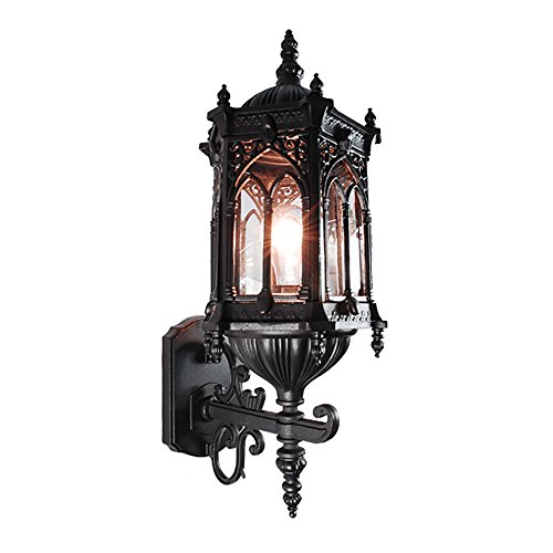 eTopLighting Rococo Collection Oil rubbed Matt Black Finish Exterior Outdoor Lantern Light Clear Glass, Wall - Wall Mount Lantern Black Outdoor