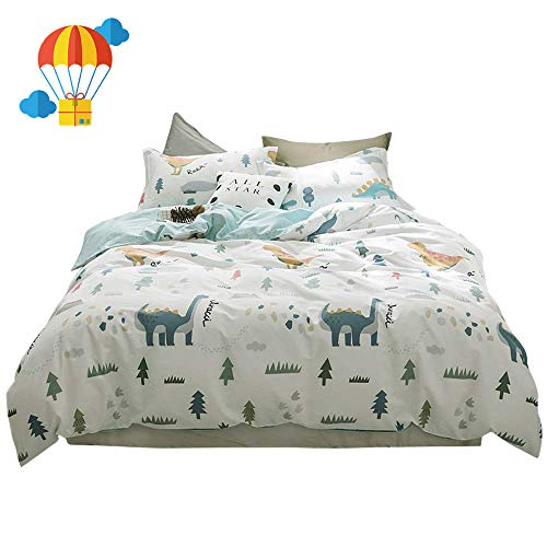 BuLuTu Dinosaur Kids Bedding Sets Twin Cotton White,3 Pieces Premium Soft Reversible Dino Forest Print Teen Boys Girls Twin Duvet Cover Set Cotton with Zipper Closure and Ties,NO ()
