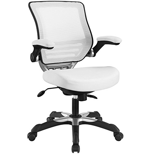 (Modway Edge Mesh Back and White Vinyl Seat Office Chair With Flip-Up Arms - Ergonomic Desk And Computer Chair )