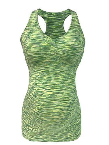 - CLOYA Maternity Activewear Workout Tank Tops Pregnancy Women Yoga Clothes Seamless Racerback (L, Green Heather)