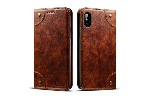 (Wallet Phone Case for Apple iPhone X,TACOO Genuine Leather Card Slot Full Protection Magnetic Flip Durable Kickstand Fashion Cover for Apple 10 2017(Khaki))