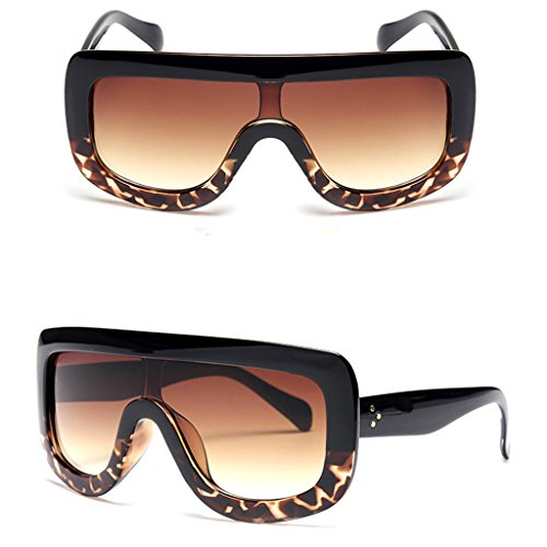 NNDA CO Retro Women's Big Style Sunglasses Vintage Oversized Designer Shades Eyeglasses,Plastic+Resin,1PC (Black&Leopard)