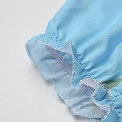 Chic Chemise Automne Mode Hiver 3 Vetement Tops Tee Shirt Bleu Haut Manche Dnud paule Florale Habite Lin SANFAHSION Basique Casual Femme Longue fSBXX