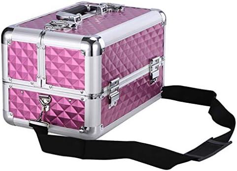 ツールオーガナイザー ショルダーストラップ付きアルミ合金フレームツールボックス4トレイメイクアップアーティスト化粧品トレインケースオーガナイザー化粧品の宝石箱 ポータブルツールボックス (Color : Purple)