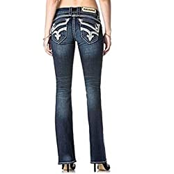 Rock Revival Johanna B405 Boot Cut White Stitched Fluer De Lis Women's Jeans