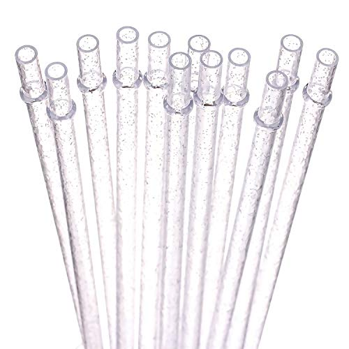 - Dakoufish BPA-Free 12 Piece 9 Inch Reusable Clear Plastic Glitter Sparkle Drinking Straw Various Colors- Plus One Cleaning Brush (9inch, clear)