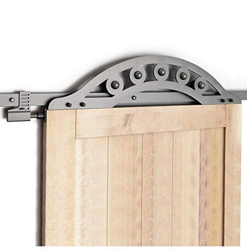 One Piece Door Panel - DIYHD 6FT Black Wrought Iron One Piece Fan-Shaped Roller Sliding Barn Door Hardware