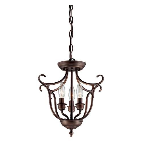- Millennium 1323-RBZ Three Light Pendant, Bronze/Dark