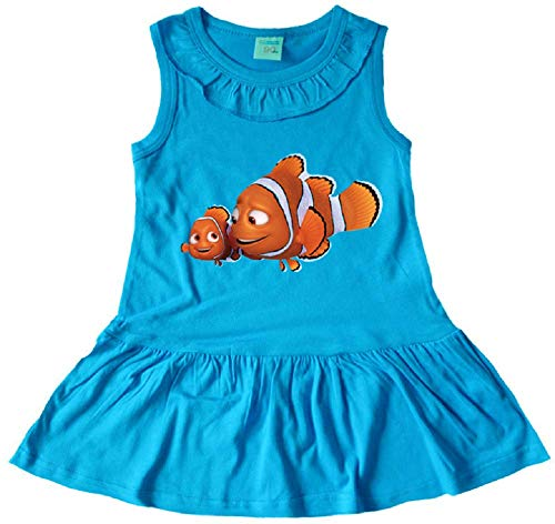 Indepence Life Girls' Finding Nemo Sleeveless Dress Girls Cotton Fish Skirt Dress(Blue, 3T) -