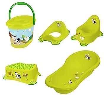 okt kids funny farm set di accessori da bagno per neonati vasca per il