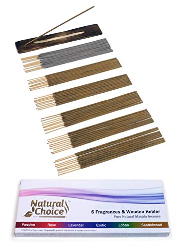 Natural Choice Incense sticks - 6 Fragrances & Wooden Holder - Made from scratch - No (Spice Incense Coconut)