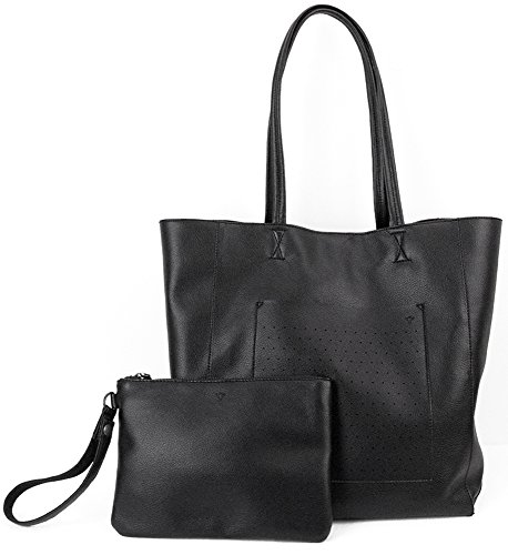 Dorrarium Designer Tote Bag with Matching Pouch | Vegan Leather | Large and Durable Shoulder Bag (Large Textured Leather Tote)